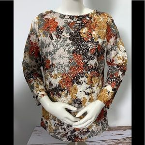 Peck & Peck Autumn Earty Tones Floral Overlay Top